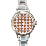 TRIANGLE2 WHITE MARBLE & RUSTED METAL Round Italian Charm Watch