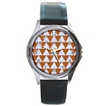 TRIANGLE2 WHITE MARBLE & RUSTED METAL Round Metal Watch Front