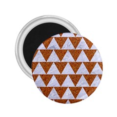 TRIANGLE2 WHITE MARBLE & RUSTED METAL 2.25  Magnets