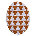 TRIANGLE2 WHITE MARBLE & RUSTED METAL Ornament (Oval)
