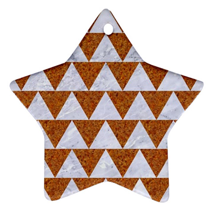 TRIANGLE2 WHITE MARBLE & RUSTED METAL Ornament (Star)