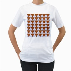 TRIANGLE2 WHITE MARBLE & RUSTED METAL Women s T-Shirt (White) (Two Sided)