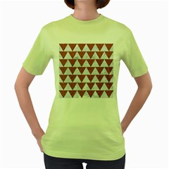 TRIANGLE2 WHITE MARBLE & RUSTED METAL Women s Green T-Shirt