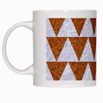 TRIANGLE2 WHITE MARBLE & RUSTED METAL White Mugs Left