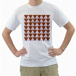 TRIANGLE2 WHITE MARBLE & RUSTED METAL Men s T-Shirt (White) (Two Sided)