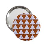 TRIANGLE2 WHITE MARBLE & RUSTED METAL 2.25  Handbag Mirrors