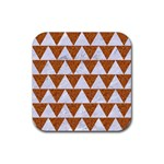 TRIANGLE2 WHITE MARBLE & RUSTED METAL Rubber Coaster (Square)