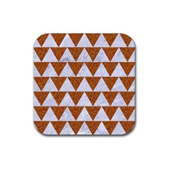 TRIANGLE2 WHITE MARBLE & RUSTED METAL Rubber Square Coaster (4 pack)