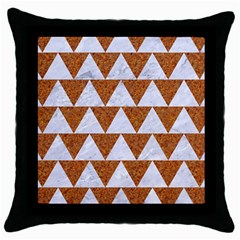 Triangle2 White Marble & Rusted Metal Throw Pillow Case (black) by trendistuff