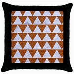 TRIANGLE2 WHITE MARBLE & RUSTED METAL Throw Pillow Case (Black)