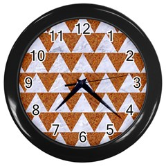 TRIANGLE2 WHITE MARBLE & RUSTED METAL Wall Clocks (Black)