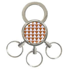 TRIANGLE2 WHITE MARBLE & RUSTED METAL 3-Ring Key Chains