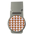 TRIANGLE2 WHITE MARBLE & RUSTED METAL Money Clips (Round)