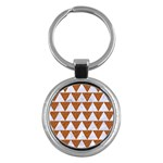 TRIANGLE2 WHITE MARBLE & RUSTED METAL Key Chains (Round)