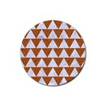 TRIANGLE2 WHITE MARBLE & RUSTED METAL Rubber Coaster (Round)