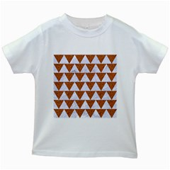 Triangle2 White Marble & Rusted Metal Kids White T Shirts