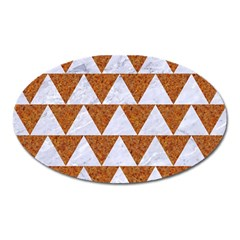 TRIANGLE2 WHITE MARBLE & RUSTED METAL Oval Magnet
