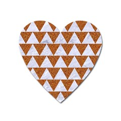 TRIANGLE2 WHITE MARBLE & RUSTED METAL Heart Magnet