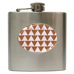 TRIANGLE2 WHITE MARBLE & RUSTED METAL Hip Flask (6 oz)