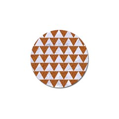 TRIANGLE2 WHITE MARBLE & RUSTED METAL Golf Ball Marker