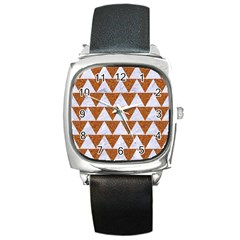 TRIANGLE2 WHITE MARBLE & RUSTED METAL Square Metal Watch