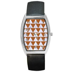 TRIANGLE2 WHITE MARBLE & RUSTED METAL Barrel Style Metal Watch