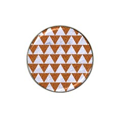 TRIANGLE2 WHITE MARBLE & RUSTED METAL Hat Clip Ball Marker