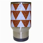 TRIANGLE2 WHITE MARBLE & RUSTED METAL Travel Mugs (White) Center