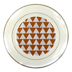 TRIANGLE2 WHITE MARBLE & RUSTED METAL Porcelain Plates