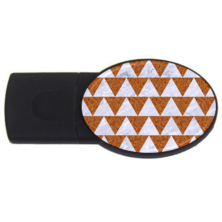 TRIANGLE2 WHITE MARBLE & RUSTED METAL USB Flash Drive Oval (4 GB)