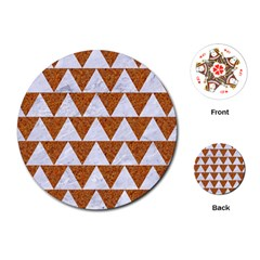 TRIANGLE2 WHITE MARBLE & RUSTED METAL Playing Cards (Round)