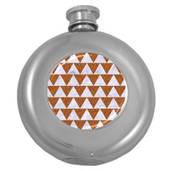 TRIANGLE2 WHITE MARBLE & RUSTED METAL Round Hip Flask (5 oz)
