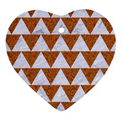 Triangle2 White Marble & Rusted Metal Heart Ornament (two Sides)