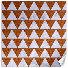 TRIANGLE2 WHITE MARBLE & RUSTED METAL Canvas 20  x 20
