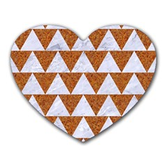 Triangle2 White Marble & Rusted Metal Heart Mousepads