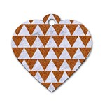 TRIANGLE2 WHITE MARBLE & RUSTED METAL Dog Tag Heart (One Side) Front