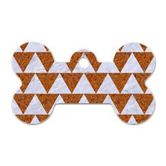 TRIANGLE2 WHITE MARBLE & RUSTED METAL Dog Tag Bone (One Side)