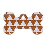 TRIANGLE2 WHITE MARBLE & RUSTED METAL Dog Tag Bone (One Side) Front
