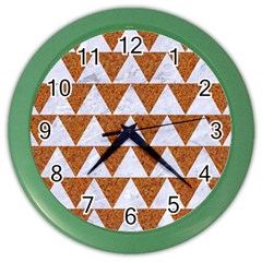 TRIANGLE2 WHITE MARBLE & RUSTED METAL Color Wall Clocks