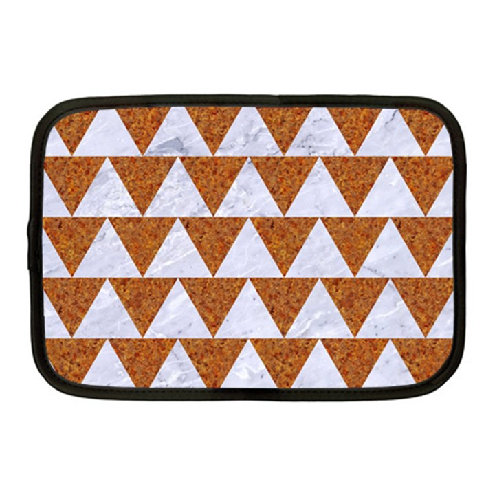 TRIANGLE2 WHITE MARBLE & RUSTED METAL Netbook Case (Medium)