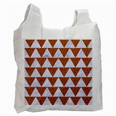 TRIANGLE2 WHITE MARBLE & RUSTED METAL Recycle Bag (One Side)
