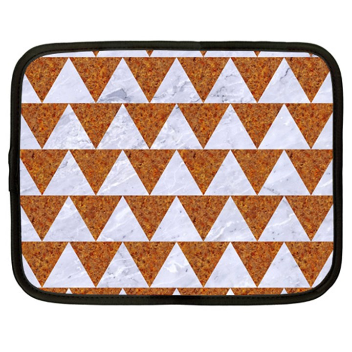 TRIANGLE2 WHITE MARBLE & RUSTED METAL Netbook Case (XXL)