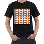 TRIANGLE2 WHITE MARBLE & RUSTED METAL Men s T-Shirt (Black) Front