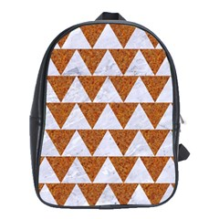 TRIANGLE2 WHITE MARBLE & RUSTED METAL School Bag (Large)