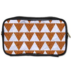 Triangle2 White Marble & Rusted Metal Toiletries Bags 2 Side by trendistuff