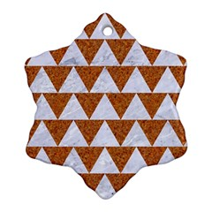 TRIANGLE2 WHITE MARBLE & RUSTED METAL Ornament (Snowflake)