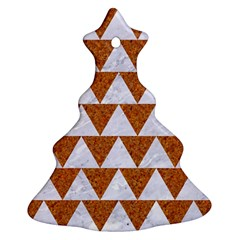 TRIANGLE2 WHITE MARBLE & RUSTED METAL Christmas Tree Ornament (Two Sides)
