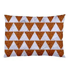 Triangle2 White Marble & Rusted Metal Pillow Case (two Sides)