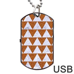 Triangle2 White Marble & Rusted Metal Dog Tag Usb Flash (one Side) by trendistuff