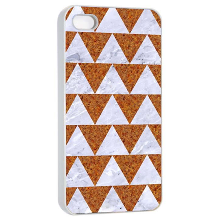 TRIANGLE2 WHITE MARBLE & RUSTED METAL Apple iPhone 4/4s Seamless Case (White)